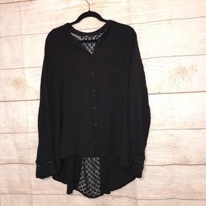 Free people size medium black knit sexy blouse